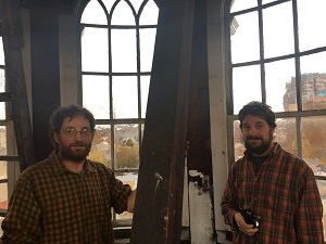 Silas Treadway & Seth Kelley explore the steeple of David Hoadley's United Church on the Green (New Haven, CT) at the 2016 members' meeting. Photo credit Michael Cuba.
